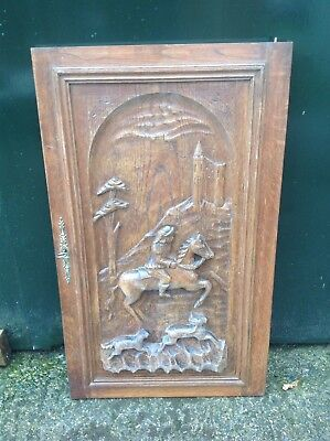 Antique French Carved Panel Door Horse Hound Deer Hunting Scene
