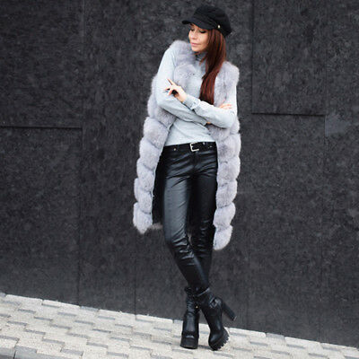 100% Real Fox Fur Long Vest Slim Gilet Waistcoat Silver Women Winter Coat Jacket