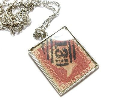 Gorgeous Vintage 1970's Silver Victorian One Penny Stamp Necklace Boho (C16)