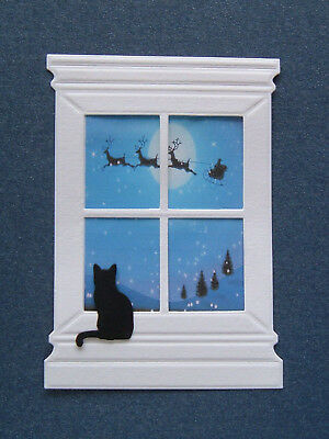 Pack Of 10 Large Embossed Window & 10 Cat - Christmas Die Cut Card Toppers