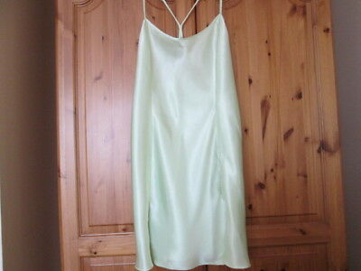 Vintage La Senza Racer Back Satin Chemise/Slip/Nightie, Pale Mint Green, Large