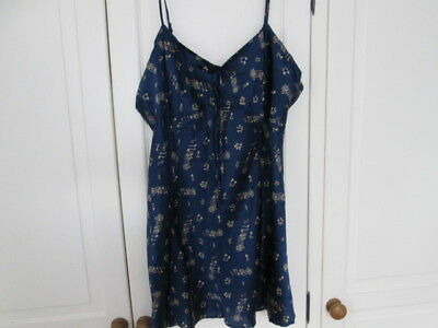 Vintage La Senza 100% Silk Chemise/Slip/Nightie, Blue & Gold - Size Large
