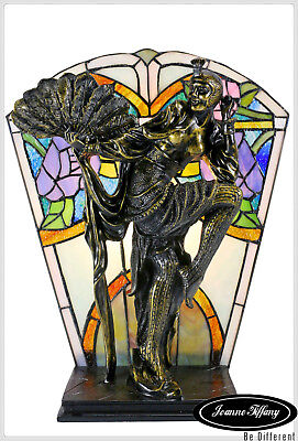 Art Deco Stunning Dancing Figurines Tiffany Stained Glass Accent Lamp