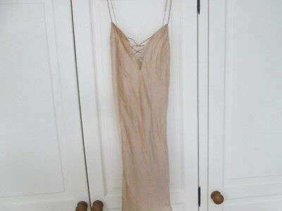 Vintage La Senza 100% Silk Chemise/Slip/Nightie in Rich Gold - Size Large