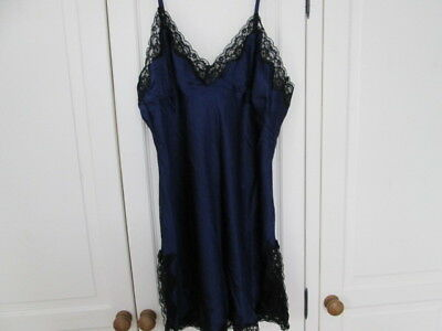 Vintage La Senza 100% Silk Midnight Blue with Black Lace Chemise/Slip/Nightie