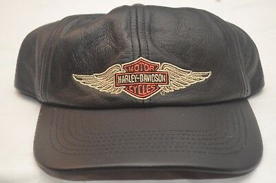 "Harley-Davidson Motorcycles ""Hawaii"" Genuine Soft Leather Cap / Hat"