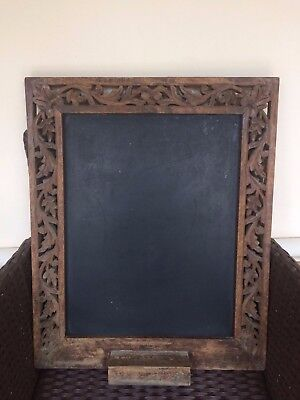 Vintage Hand Carved in India Large Wooden Chalk Board Shopping Lists Memos
