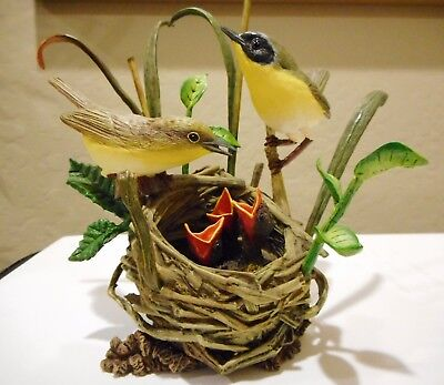 New Beginnings By Bob Guge, Bird Figurines With Babies In Nest, Danbury Mint