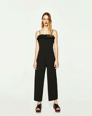Zara black ruffled sleeveless jumpsuit size M