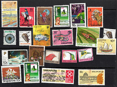 Singapore X 22 Used Stamps.