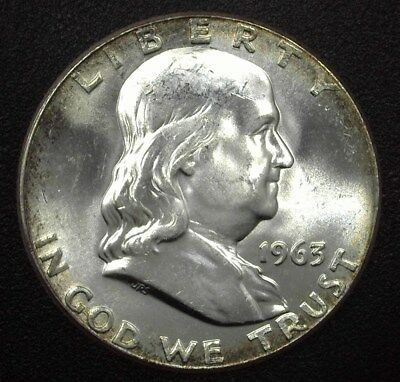 1963 Franklin Silver 50 Cents  Gem+ Uncirculated