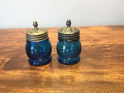 Antique Vintage Christmas Blown-Mold Blue Glass Pepper Shakers: 2