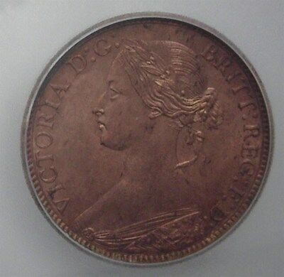 Great Britain 1873 Farthing Km#747.2  Icg Ms65 Rb