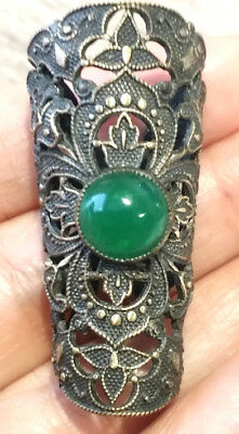 Vintage  Antique Button…Large Openwork Brass with Green Cabochon….1&11/16""