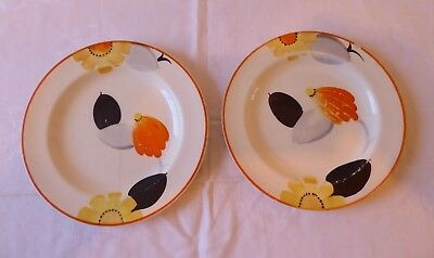 Pair Vintage 1930-32 Art Deco  Susie Cooper Pottery Hand Painted Plates Rare.