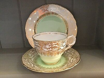 royal stafford tea set trio, cup, saucer, plate, green & gold chintz