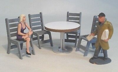 1.32 SCALE CAFE TABLE & 4 CHAIRS for Scalextric Airfix Ninco SCX Carrera & More!