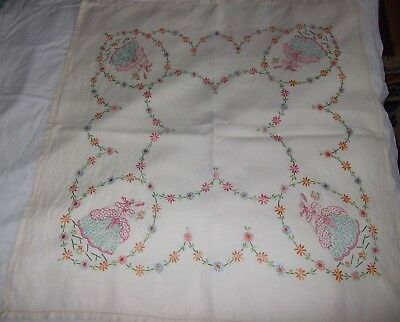 Vintage Hand Embroidered Linen Tablecloth decorated with Flowers and Ladies