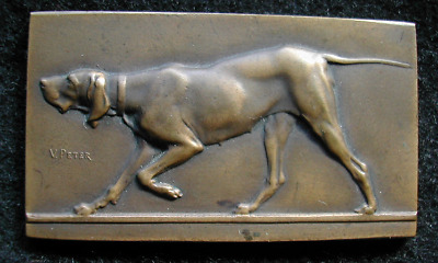 1900, bloodhound, bronze, Uniface medal by V.Peter