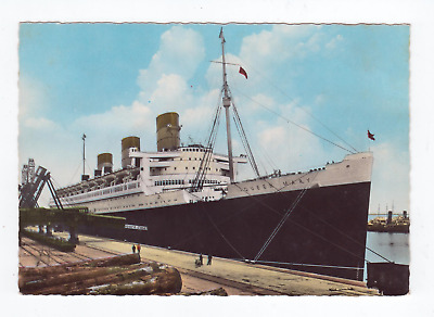 Cunard White Star Line ocean liner steamship RMS Queen Mary at Cherbourg RPPC