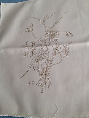 Small floral transfer print to embroider on cream fabric  for framing