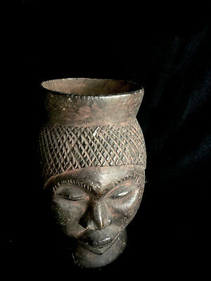 old ritially ised wooden cup for palm wine  (female figure) Rep.Dem.Congo (?)