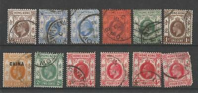 Hong Kong China Kevii & Kgv Stamps Used In Swatow Treaty Port
