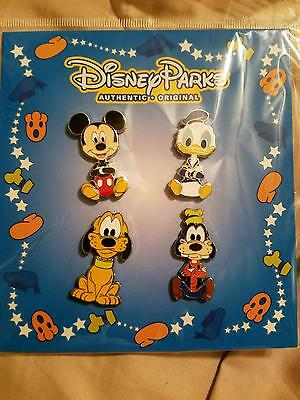 BRAND NEW Disney Parks Goofy Pluto Donald Duck Mickey Mouse Booster 4 Pin Set