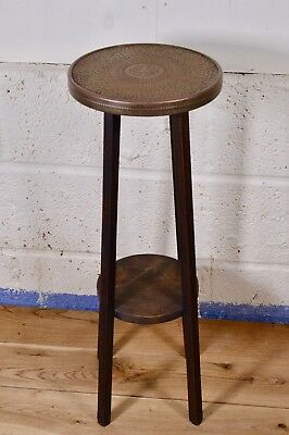 Stylish Vintage Arts & Crafts Copper Topped Wooden Plant Stand Hall Lamp Table