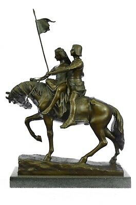 Intimate Lovers on Horse Bronze Sculpture Abstractive Wedding Couple Figurine