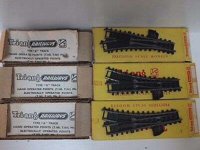 VINTAGE TRIANG RAILWAY TT 3mm GAUGE B TRACK T160 LEFT T161 RIGHT HAND POINTS BOX