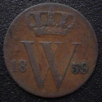 Netherlands 1859 1/2 Cent  Km#90  About Uncirculated