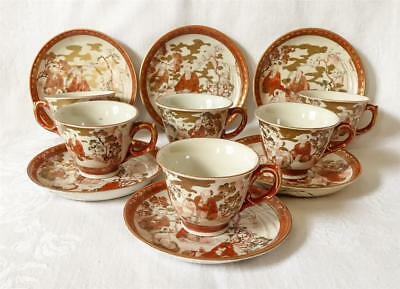 Good Set Of 6 Antique 19Th C Japanese Kutani Cups And Saucers Signed