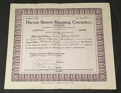 Haven Steam Shipping Company, Limited - 1920