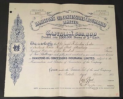 Hamiltons Oil Concessions (Roumania) Limited - 1922