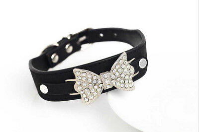 NEW Cute Puppy Pet Dog Cat Collar Bling Rhinestone Bow Crystal Bowknot Collars S