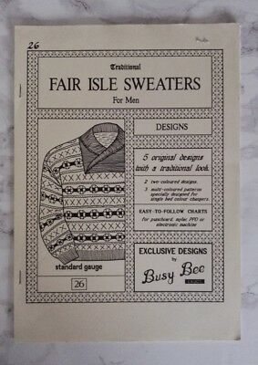 Busy Bee Machine Knitting Pattern Book - Fair Isle Sweater For Men - Punchcard