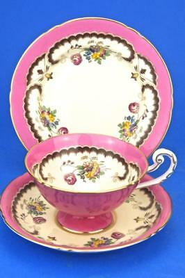 ROYAL WORCESTER Trio ART DECO 1936 PINK Footed Cup, Saucer & Plate  Z1542
