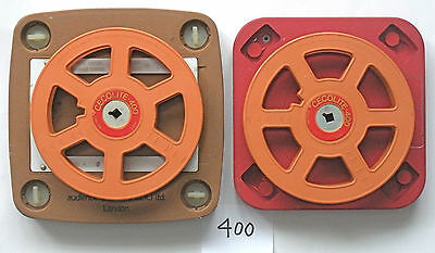 2 x 16mm 400ft / 120m LOCKING PLASTIC REELS & CANS - VG+