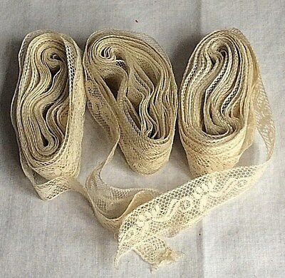 ANTIQUE  FRENCH RIBBON TRIM LACE HAND MADE GROUP of  3 7/8'' LACE TRIM DOLLS