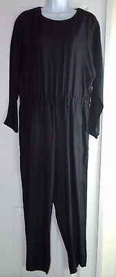 Vtg 90's Black Jumpsuit Fundamental Things Womens Sz 12 L Cruise Career Evening