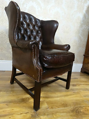 Fabulous Antique /vintage early 20thC saddle Brown Leather wingback armchair