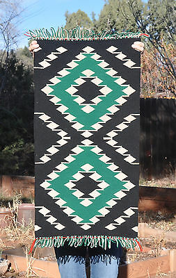 Great Old Germantown Navajo Indian Rug - Green Black White - Great Condition