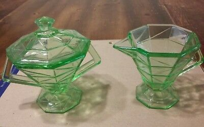 Vintage Indiana Glass Cracked Ice green Sugar Dish W/Lid & Creamer Pitcher Rare!