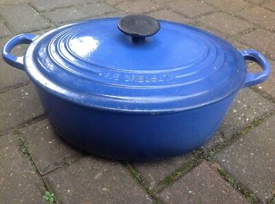 Vintage Le Crueset Cast Iron Blue Enamel Oval Casserole Cooking Pot With Lid 29""