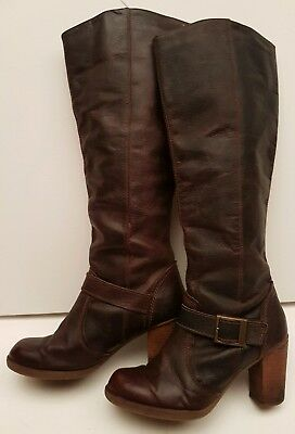 Dark natural brown real leather pull on high heel knee high boots UK 6.5