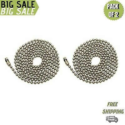 Pack Of 2 Pull Chain Extension, 36 Inch, Brushed Nickel 3-Feet Beaded Chain W...
