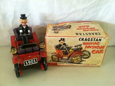 Vintage CRAGSTAN SHAKING ANTIQUE CAR TIN TOY JAPAN