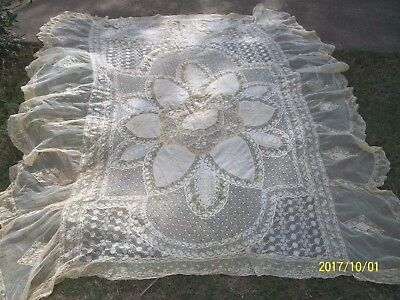 Antique Fine French Normandy Lace Coverlet Bedspread Bridal Mixed Laces