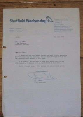 Jack Charlton autographed letter-1978-Manager @ Sheffield Wednesday